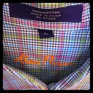 Alan Flusser Dress shirt XL in green, blue, pink